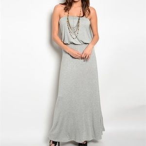 New grey strapless casual maxi summer dress